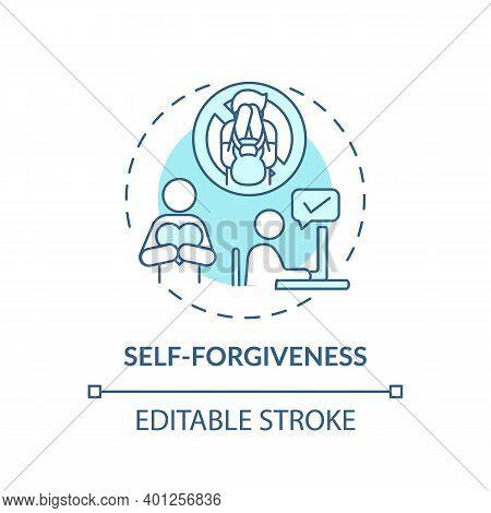 Self-forgiveness Concept Icon. Fighting Procrastination Idea Thin Line Illustration. Developing Self