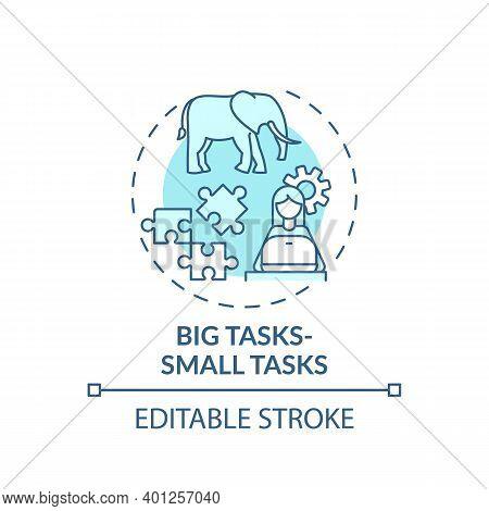 Big Tasks, Small Tasks Concept Icon. Overcoming Procrastination Tip Idea Thin Line Illustration. Pre