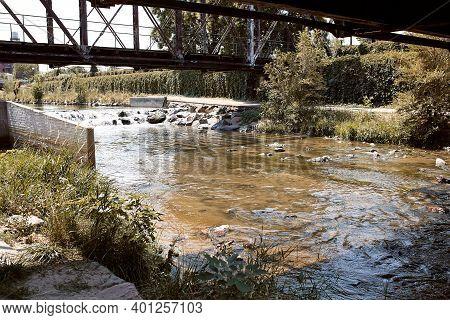 Path Along Platte River On Cherry Creek Trail In Downtown Denver.  Denver, Colorado, Usa