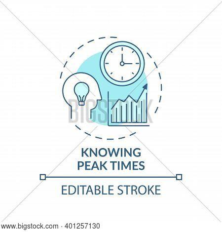 Knowing Peak Times Concept Icon. Overcoming Procrastination Idea Thin Line Illustration. Improving T