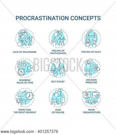 Procrastination Concept Icons Set. Poor Organization Idea Thin Line Rgb Color Illustrations. Guilt F