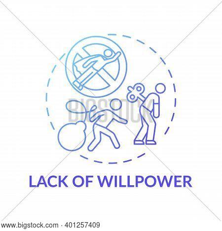 Willpower Lacking Concept Icon. Procrastination Reason Idea Thin Line Illustration. No Motivation. T
