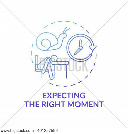 Right Moment Expecting Concept Icon. Procrastination Reason Idea Thin Line Illustration. Time-manage