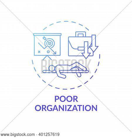 Poor Organization Concept Icon. Procrastination Reason Idea Thin Line Illustration. Motivation, Disc