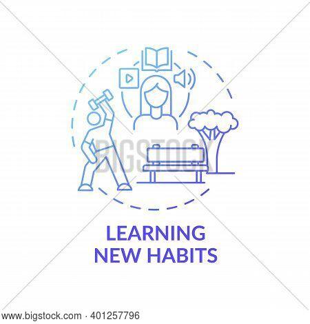 Learning New Habits Concept Icon. Fighting Procrastination Idea Thin Line Illustration. Habits Build