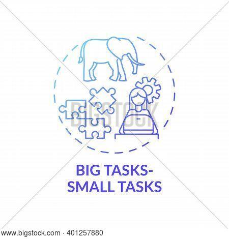 Big Tasks, Small Tasks Concept Icon. Overcoming Procrastination Tip Idea Thin Line Illustration. Set