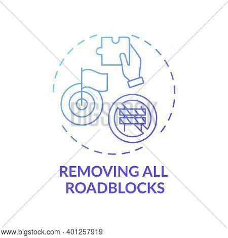 Removing All Roadblocks Concept Icon. Overcoming Procrastination Tip Idea Thin Line Illustration. Se