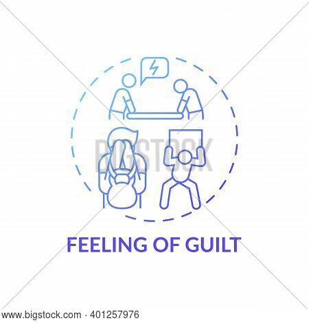 Guilt Feeling Concept Icon. Procrastination Effect Idea Thin Line Illustration. Physical And Emotion