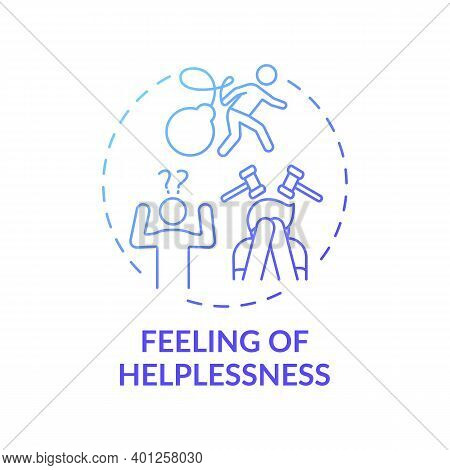 Helplessness Feeling Concept Icon. Inability To Help Oneself Idea Thin Line Illustration. Struggling