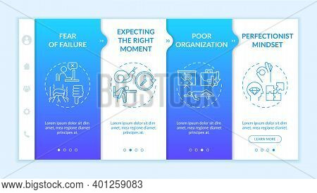 Delaying Tasks Habit Causes Onboarding Vector Template. Poor Organization. Perfectionist Mindset. Re