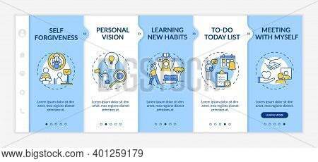 Fighting Delaying Tasks Habit Methods Onboarding Vector Template. Personal Vision. Learning New Habi