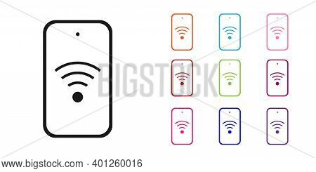 Black Smartphone With Free Wi-fi Wireless Connection Icon Isolated On White Background. Wireless Tec