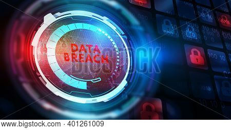 Cyber Security Data Protection Business Technology Privacy Concept. Data Breach 3d Illustration