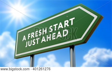 A Fresh Start Green Road Sign Against Clouds And Sunburst.3d Illustration