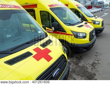 Russia, Voronezh - May 04, 2020: New Resuscitation Ambulances Stand In A Row