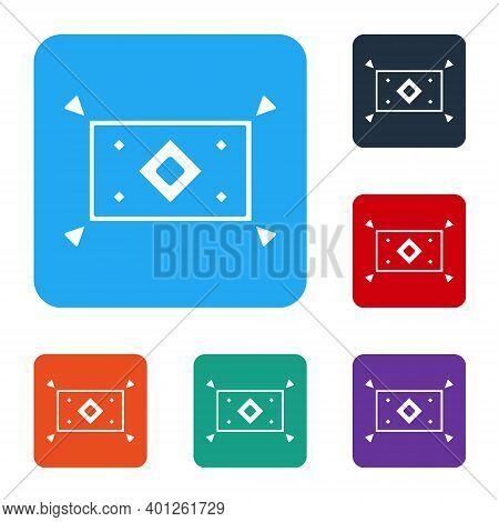 White Magic Carpet Icon Isolated On White Background. Set Icons In Color Square Buttons. Vector