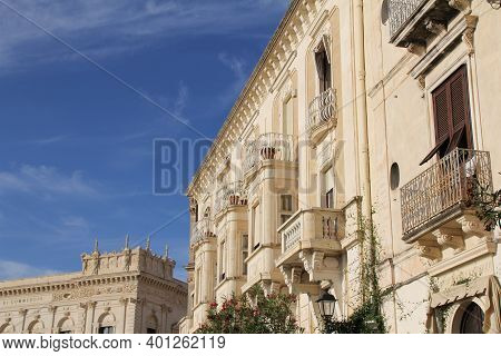 Baroque Architecture, Syracuse, Historic Buildings With Ornaments And Decorations, Balconies And Woo