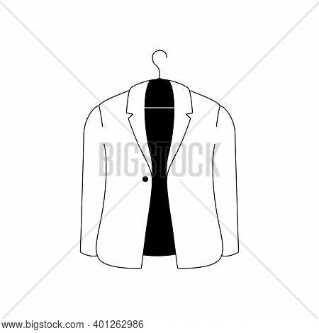 Mens Jacket Icon. Outline Vector Icon Of A Stylish Mens Jacket. Black And White Linear Illustration