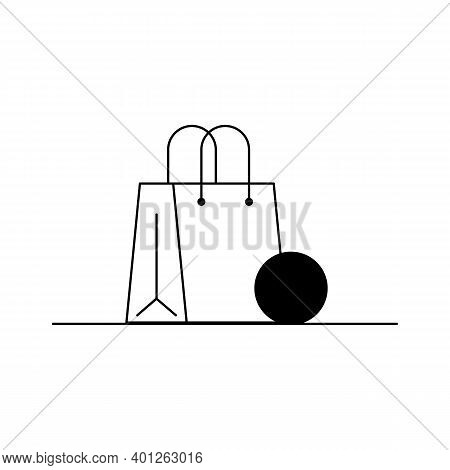 Womens Purse Icon. Outline Vector Icon Of A Stylish Womens Purse, Handbag. Black And White Linear Il