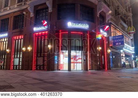 Vienna, Austria - August 30, 2020: Bank Austria Office At Night. Bank Austria Is The Local Austrian