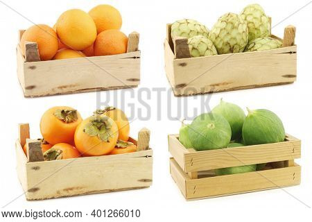 fresh oranges, cherimoya fruit  (Annona cherimola), kaki fruit and cumelo's (mix between a cucumber and a melon) in a wooden crate on a white background