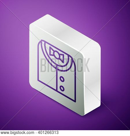 Isometric Line Suit Icon Isolated On Purple Background. Tuxedo. Wedding Suits With Necktie. Silver S