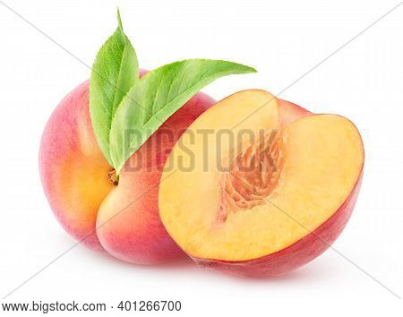 Isolated Peaches. One Whole Pink Peach With Leaf And A Half Isolated On White Background