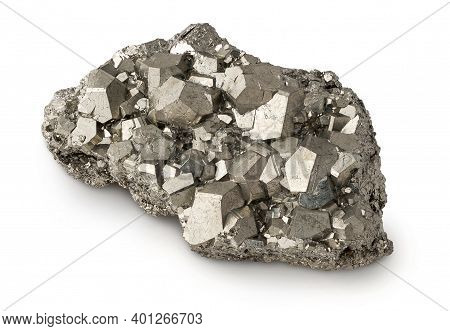 Lump Of Natural Pyrite Mineral With Dodecahedral Shaped Crystals Isolated On White Background