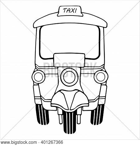 Tuk Tuk Bangkok Thai Vintage, Retro Tricycle Vehicle, Traditional Tourism Style Symbol, Front View,