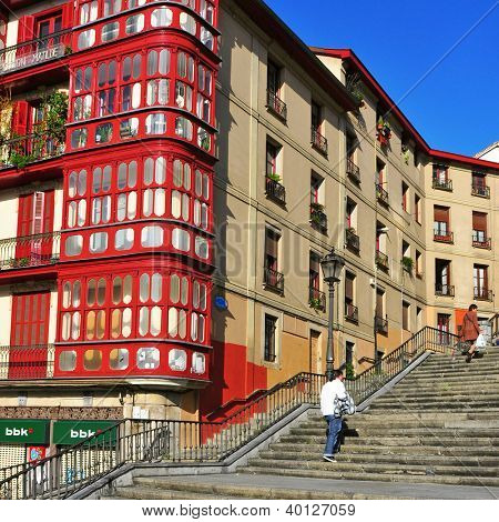 BILBAO, SPAIN - NOVEMBER 14: Mallona Stairs on November 14, 2012 in Bilbao, Spain. These stairs lead from Casco Viejo, the old town, to the Basilica of Our Lady of Begona and Etxebarria Park