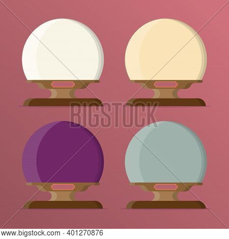 A Set Of Balloons With Empty Space For Text Or Your Images. Magic Ball With Snow. Cartoon Vector Ill
