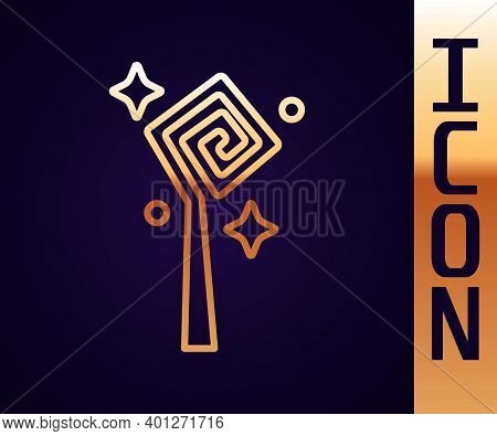 Gold Line Magic Staff Icon Isolated On Black Background. Magic Wand, Scepter, Stick, Rod. Vector