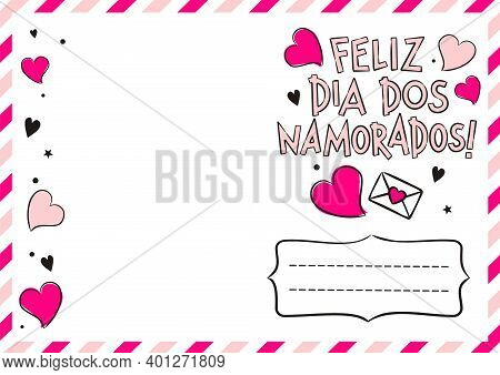 Portuguese Happy Valentine's Day Postcard With Hearts And Gift Boxes. Cute Greeting Card. Hand Drawn