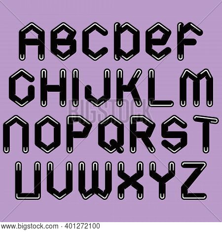 Vector Decorative Alphabet.black Letters On Lilac Background.
