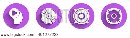 Set Head People With Play Button, Vinyl Disk, Stereo Speaker And Stereo Speaker Icon With Long Shado