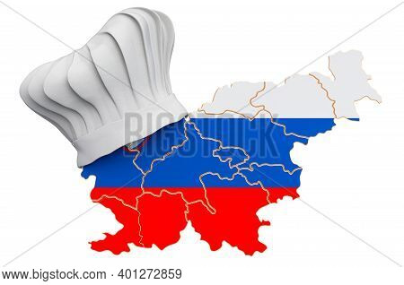 Slovenian National Cuisine Concept. Chef Hat With Map Of Slovenia. 3d Rendering Isolated On White Ba