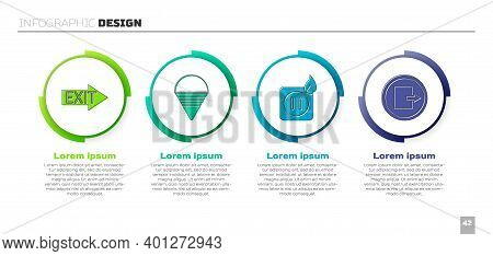 Set Fire Exit, Fire Cone Bucket, Electric Wiring Of Socket In Fire And Fire Exit. Business Infograph