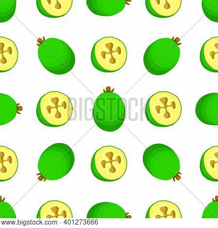 Illustration On Theme Big Colored Seamless Feijoa, Bright Fruit Pattern For Seal. Fruit Pattern Cons