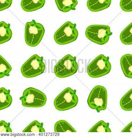 Illustration On Theme Of Bright Pattern Bell Pepper, Vegetable Capsicum For Seal. Vegetable Pattern