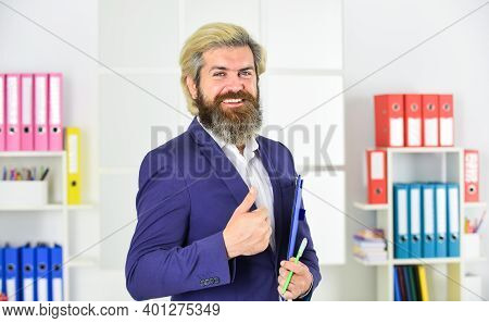 Confident Businessman Holding Documents. Businessman With Folder. Control And Inspection. Project Cu