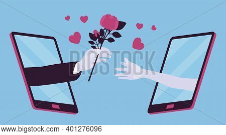 Love, Long Distance Romantic Relationship Via Tablet Screen. Male Hand Giving Flowers To A Girlfrien