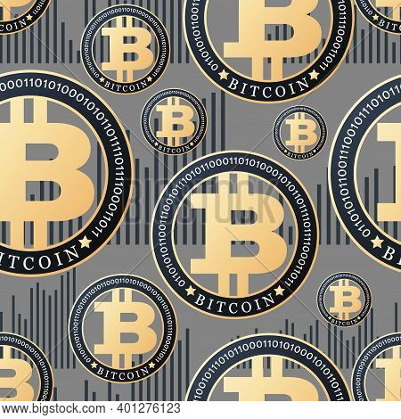 Bitcoin. Cryptocurrency Growth Chart. Bullish Candle. Gold Coin On Grey Background. Seamless Pattern
