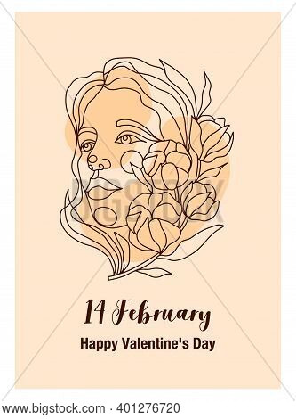 A Poster With A Portrait Of A Woman For All Lovers On February 14. Line Art Portrait With Cotton Bra
