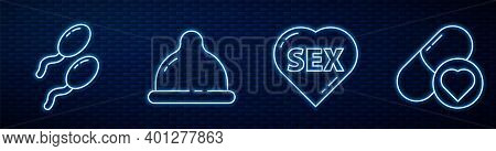 Set Line Heart With Text Sex, Sperm, Condom And Pills For Potency, Aphrodisiac. Glowing Neon Icon On