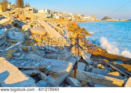 Broken, Abandoned Houses By The Sea In Ilyichevsk, Ukraine
