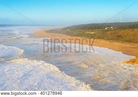 North Beach Of Nazare - Famous For Its Giant Waves. Portugal