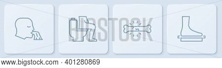 Set Line Vomiting Man, Bone Pain, Constipation And Flat Foot. White Square Button. Vector