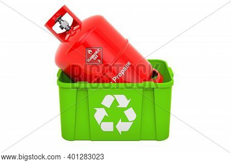 Recycling Trashcan With Propane Gas Cylinder, 3d Rendering Isolated On White Background