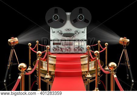 Podium With Reel-to-reel Tape Recorder, 3d Rendering Isolated On Black Background