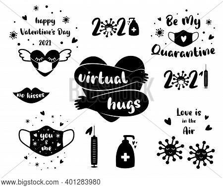 Covid Valentine Day 2021 Set Elements. Heart, Lips, Medical Face Mask, Quarantine, Coronavirus Prote